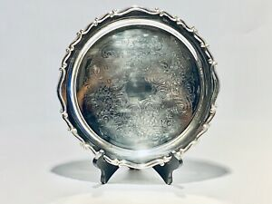 Fabulous Antique 12 Inches Round Fb Rogers Silver Plated Serving Tray