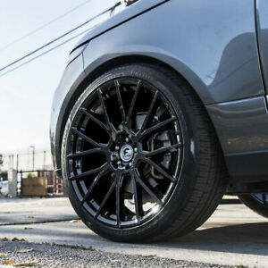 22 Forgiato Flow 001 Black Forged Concave Wheels Tires Rims Fits Grand Cherokee