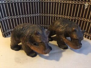 Lot Of Two Antique Japan Hokkaido Wooden Bear Hand Carved