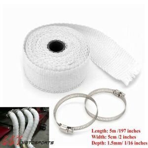 5m Thermal Exhaust Tape Pipe Wrap Heat Resistant Cloth For Car Motorcycle white