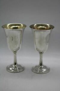 2 Wallace Sterling Silver Goblets Pattern 122 Wine Glasses Stemware Gold Wash In