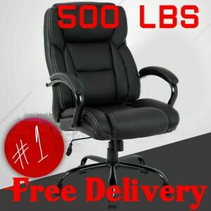 500 Lb Heavy Duty High Back Tall Desk Executive Ergonomic Leather Black Chair