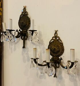 Pair Of Vintage Brass Electric Wall Sconces Made In Spain Crystals 3 Arms