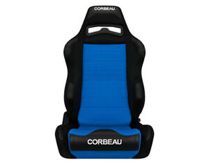 Corbeau Lg1 Racing Seat Black Blue Cloth Reclining Driver Side Old Stitching