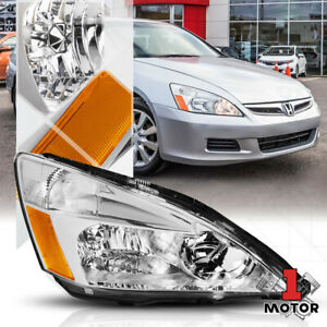 Right Passenger Side Chrome Headlight Head Lamp Assembly For 03 07 Honda Accord