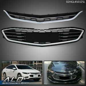 For Chevy Malibu 2016 2018 Honeycomb Mesh Chrome Abs Front Upper Lower Grille