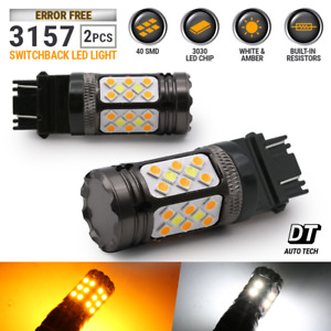 Canbus Error Free White Amber 3157 Led Drl Switchback Turn Signal Light Bulbs