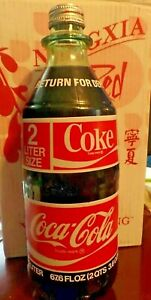 VINTAGE 2 LITER COKE COCA-COLA BOTTLE FULL & SEALED 1970's ERA  67.6 oz