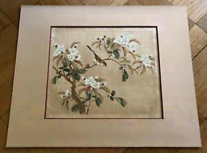 Antique Chinese Japanese Sparrow Tree Watercolor Painting On Silk Sealed