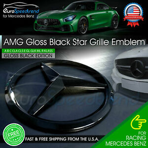 Amg Front Gloss Black Star Emblem Cover Grille Badge Mercedes Benz A B C E Gl Ml