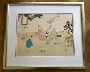 Antique Chinese Playing Children Original Watercolor Painting On Paper