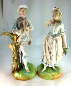 Antique English Pair Of Porcelain Figurines Lovers Boy W Flute Girl Watering
