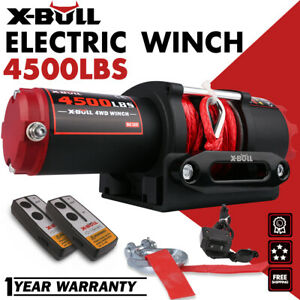 X Bull 12v 4500lbs Electric Winch Steel Cable Towing Truck Off Road Atv
