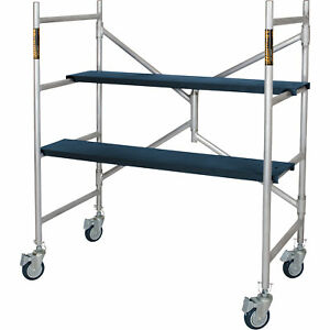 Mini Platform Aluminum Scaffold Step Ladder Portable Rolling Folds To 6in d