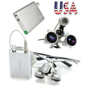 Dental 3 5x 420mm Binocular Loupes Optical Glass Led Head Lamp Surgery Tool Flip