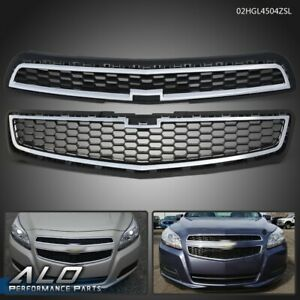 Set Of 2 Chrome Front Bumper Upper Lower Grille For 2013 Chevy Malibu Ls Lt