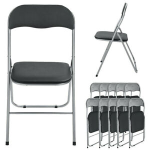 10pcs Home Backrest Folding Chairs Casual Office Training Chair With Metal Frame