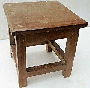 Antique Wooden Table Small Occasional Coffee Display Stool Straight Legs