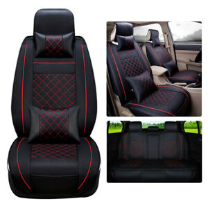 Deluxe Car Seat Covers Black red For 5 seat 100 Pu Leather Full Cushion Set Us