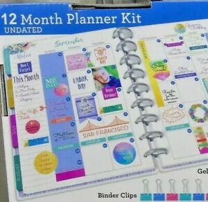 Undated Planner Kit Binder Dividers Journal Pockets Washi Stickers Pens New