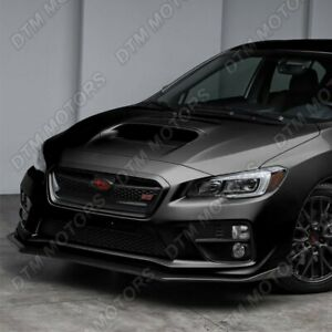 For 15 20 Subaru Wrx Sti Cs Style Jdm Painted Black Front Bumper Body Lip 3pcs
