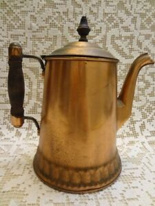 Vintage Copper Coffee Pot W Wood Knob Handle Rochester Stamping Works Ny