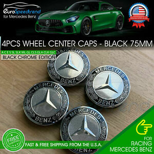 4x Mercedes Benz Black Wheel Center Hub Caps Emblem 75mm Amg Laurel Wreath