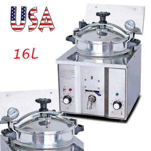 16l Commercial Electric Countertop Pressure Fryer Heater Stainless Steel 2400w