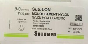 Sutumed Nylon 9 0 3 8 5 5mm Taper Point Double Armed Surgical Suture