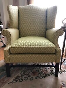 Chippendale Style Upholstered Wing Chair