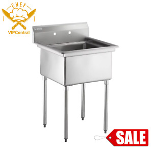 Freestanding Utility Stainless Steel 18 gauge Commercial Sink 24 X 24 X 12 Bowl