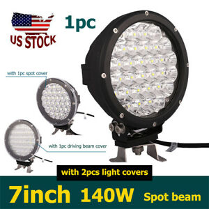1x 7inch 140w 14000lm Round Spot Led Driving Light Fog Lamp For Jeep 4wd Offroad