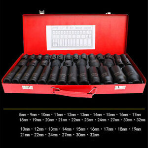 35pcs Set 1 2 Drive Deep Impact Socket Tool Kit 8 32mm Metric Garage Metric Us