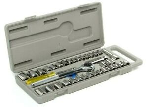 40 Pc Sae metric 1 4 3 8 Dr Socket Set Ratchet Wrench With Case Hand Tools