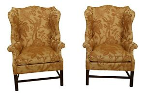 49091ec Pair Chippendale Mahogany Wingback Easy Chairs W Down Seats