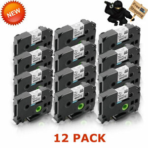12x Tz231 Tze231 Black On White Label Tape For Brother P touch Pt h110 12mm 1 2