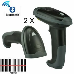 2x Automatic Wireless Bluetooth Laser Barcode Scanner Gun Reader For Ios Android