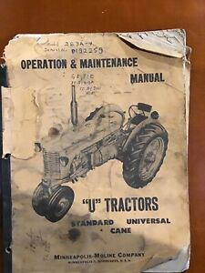 Minneapolis moline u Tractors Operation Maintenance Manual S 119c 1952