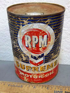 vintage RPM Supreme motor Oil Can  EMPTY can for display  1 quart can  rough