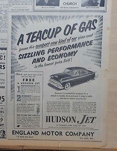 1953 Newspaper Ad For Hudson A Teacup Of Gas Proves Sizzling Performance