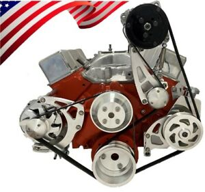 Small Block Chevy Serpentine Pulley Conversion Kit A c Alt Ps Long Wp Sbc Lwp 1