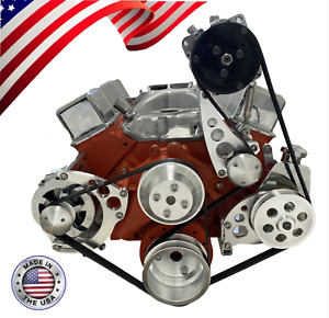 Sbc Serpentine Pulley Conversion Kit A c Alt Ps Chevy Small Block Sbc Lwp Wp 2