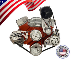 Small Block Chevy Serpentine Pulley Conversion Kit A c Alt Ps Midmount Sbc Lwp 3