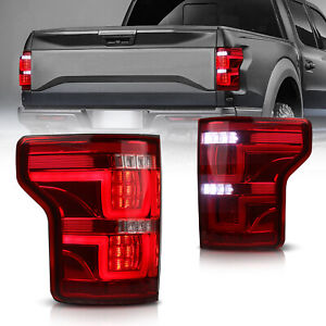 Full Led Tail Lights Rear Lamps Assembly For 15 16 17 Ford F 150 F150 red Clear