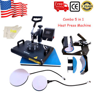 5 In 1 Heat Press Machine Swing Away Digital Sublimation T shirt Mug Plate Hats