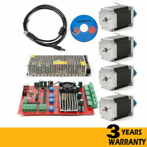 Cnc Usb 4pcs Nema23 Stepper Motors 290 Oz in 4axis Tb6600 Motor Driver Board Kit