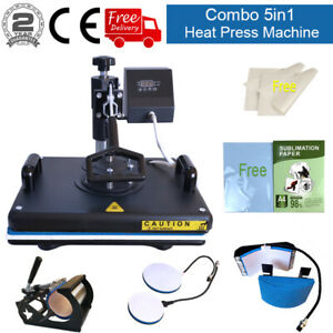 5in1 12 x15 Heat Press Machine Trasnfer Sublimation Paper Swing Away T shirts
