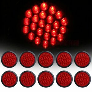 10 4 Inch Red Round 24 Led Trailer Truck Side Marker Lights Tail Lamps