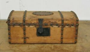 Antique Wooden Trunk Early 19th Century