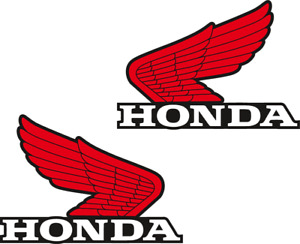 Honda Wings Set Of 2 Red Bike Motorcycle Retro Vintage Logo Vinyl Sticker Decal